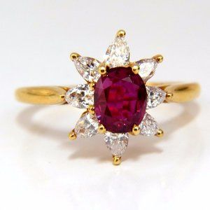 2.40ct Natural Ruby Diamonds Halo Pear Ring 18kt